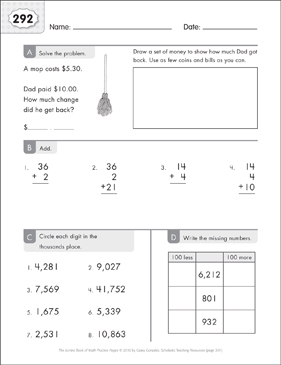 Math Practice Page: 292 (Grades 1-2) - Printable Worksheet
