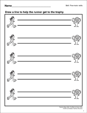 Following a Horizontal Path: Fine Motor - Printable Worksheet