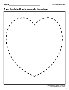 Tracing a Heart: Preschool Basic Skills (Fine Motor) - Printable Worksheet