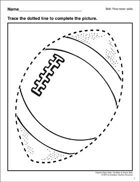 Tracing A Football Preschool Basic Skills Fine Motor