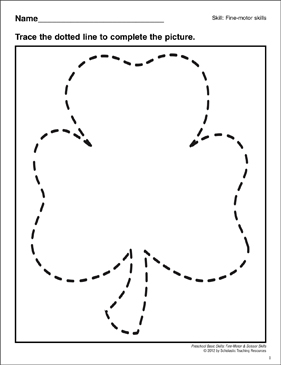 Tracing a Clover: Preschool Basic Skills (Fine Motor) - Printable Worksheet