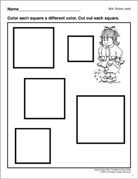 graphic regarding Printable Squares identified as Reducing Out Squares: Preschool Uncomplicated Capabilities (Scissor Competencies