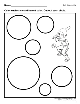 Cutting Out Circles: Preschool Basic Skills (Scissor Skills) - Printable Worksheet