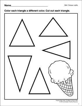Cutting Out Triangles: Preschool Basic Skills (Scissor Skills) - Printable Worksheet
