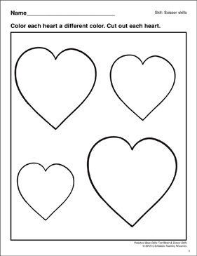 Cutting Out Hearts: Preschool Basic Skills (Scissor Skills) - Printable Worksheet