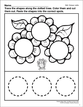 Cutting and Pasting Circles: Preschool Basic Skills (Scissor Skills) - Printable Worksheet