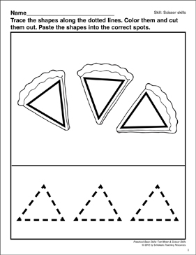 Cutting and Pasting Triangles: Preschool Basic Skills (Scissor Skills) - Printable Worksheet