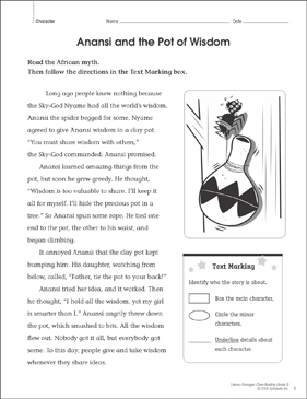 Anansi and the Pot of Wisdom Close Reading Passage - Printable Worksheet