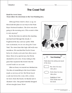 The Coast Trail: Close Reading Passage - Printable Worksheet