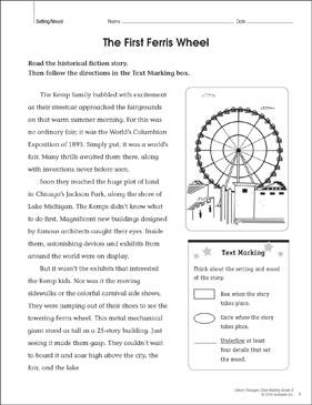 The First Ferris Wheel: Close Reading Passage - Printable Worksheet