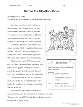 Before the Hip-Hop Show: Close Reading Passage - Printable Worksheet