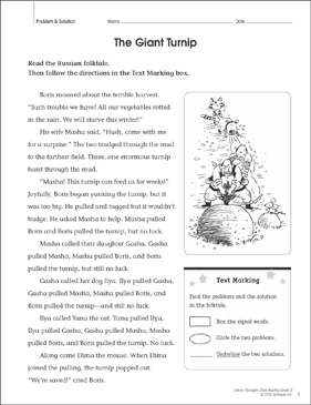 The Giant Turnip: Close Reading Passage - Printable Worksheet