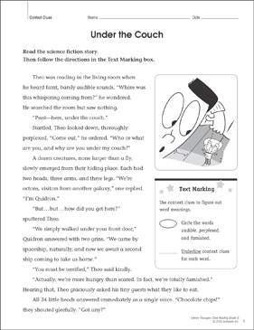 Under the Couch: Close Reading Passage - Printable Worksheet