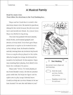 A Musical Family: Close Reading Passage - Printable Worksheet