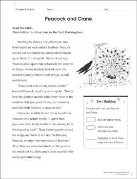 Peacock and Crane: Close Reading Passage - Printable Worksheet