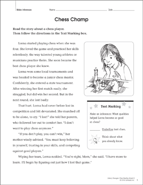 Chess Champ: Close Reading Passage - Printable Worksheet