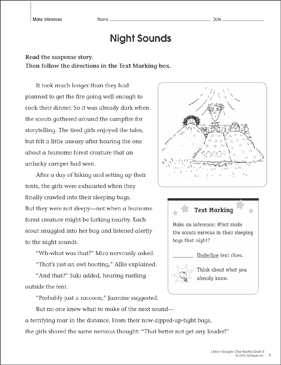 Night Sounds: Close Reading Passage - Printable Worksheet