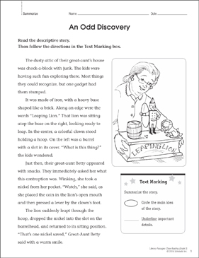 An Odd Discovery: Close Reading Passage - Printable Worksheet