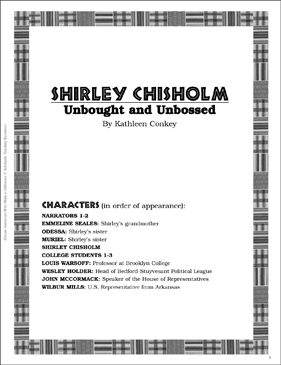 Shirley Chisholm: Play and Teaching Guide - Printable Worksheet