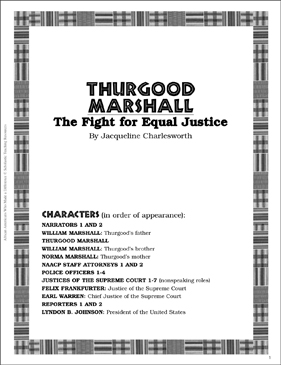 Thurgood Marshall: Play and Teaching Guide - Printable Worksheet