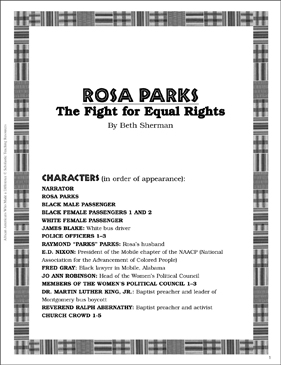Rosa Parks: Play and Teaching Guide - Printable Worksheet