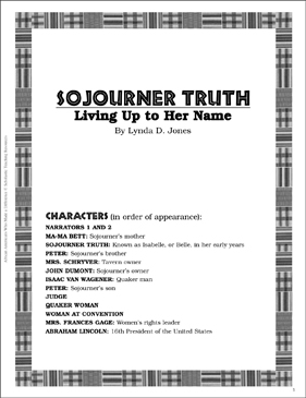 Sojourner Truth: Play and Teaching Guide - Printable Worksheet