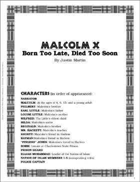 Malcolm X: Play and Teaching Guide - Printable Worksheet
