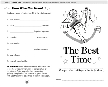 The Best Time (Comparative and Superlative Adjectives ... Worksheet For Comparative Adjectives on one syllable word worksheets, describing objects worksheets, comparative superlative adjective, adjective order worksheets, adverbs worksheets, second grade adjective worksheets, comparative vocabulary worksheets, fun psychology worksheets, easy crossword puzzle worksheets, wide and narrow worksheets, clauses and phrases worksheets, positive comparative superlative worksheets, printable adjective worksheets, 3rd grade math reasoning worksheets, beginning band worksheets, comparative worksheets preschool, comparative and superlative worksheets, beginning spanish worksheets, fun adjective worksheets, er and est worksheets,