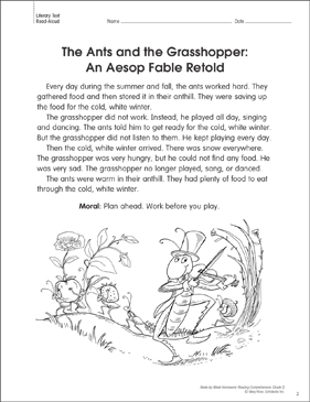 It's just an image of Nifty The Ant and the Grasshopper Story Printable