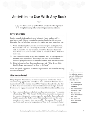 Activities to Use With Any Cynthia Rylant Book - Printable Worksheet