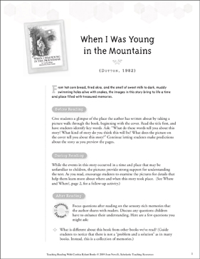 When I Was Young in the Mountains: Teaching With Favorite Cynthia Rylant Books - Printable Worksheet