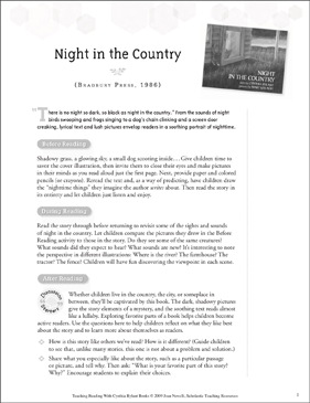 Night in the Country: Teaching With Favorite Cynthia Rylant Books - Printable Worksheet