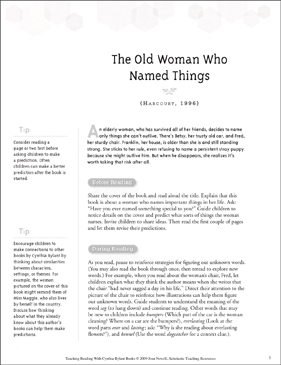 The Old Woman Who Named Things: Teaching With Favorite Cynthia Rylant Books - Printable Worksheet
