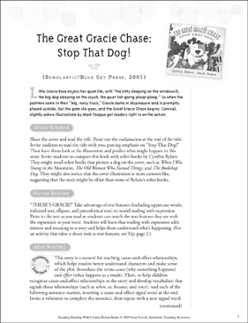 The Great Gracie Chase: Stop That Dog!: Teaching With Favorite Cynthia Rylant Books - Printable Worksheet