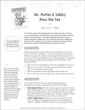 Mr. Putter & Tabby Pour the Tea: Teaching With Favorite Cynthia Rylant Books - Printable Worksheet