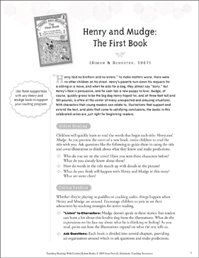 Henry and Mudge: The First Book: Teaching With Favorite Cynthia Rylant Books - Printable Worksheet