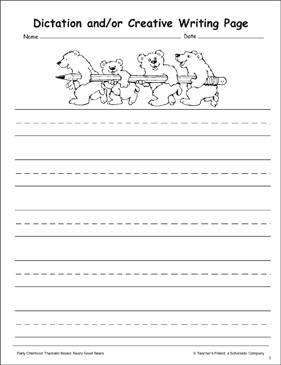 Bear Stationery - Printable Worksheet