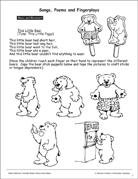 Animals: Songs, Poems, and Puppets - Printable Worksheet