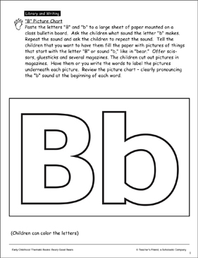 B Picture Chart: Letter Pattern and Activity Idea - Printable Worksheet