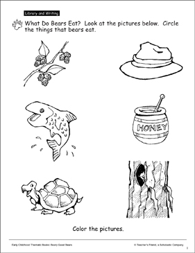 What Do Bears Eat?: Science Activity Page - Printable Worksheet