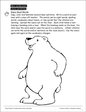 Beary Good Words: Animal Pattern and Activity Idea - Printable Worksheet