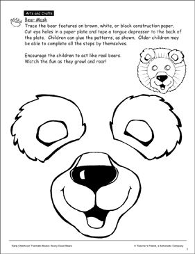 Bear Pattern Printable Arts Crafts Lesson Plans And Ideas