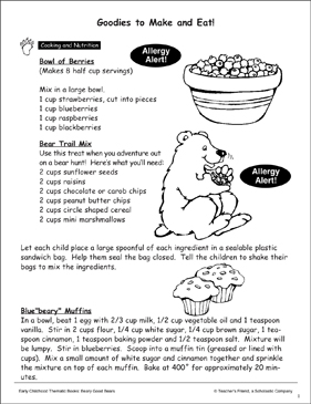 Goodies to Make and Eat: Apples & Cookies (Recipes) - Printable Worksheet
