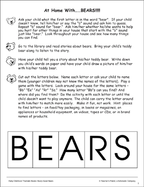 At Home With Bears: Send-Home Activity Page - Printable Worksheet