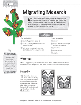 Migrating Monarch: Animal Art Project - Printable Worksheet