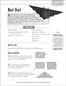 Bat Hat: Animal Art Project - Printable Worksheet