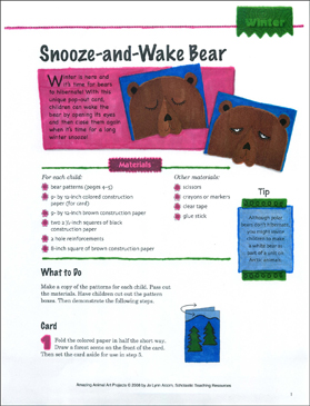 Snooze-and-Wake Bear: Animal Art Project - Printable Worksheet