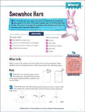 Snowshoe Hare: Animal Art Project - Printable Worksheet
