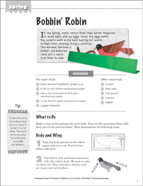 Bobbin' Robin: Animal Art Project - Printable Worksheet