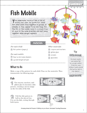 Fish Mobile: Animal Art Project - Printable Worksheet